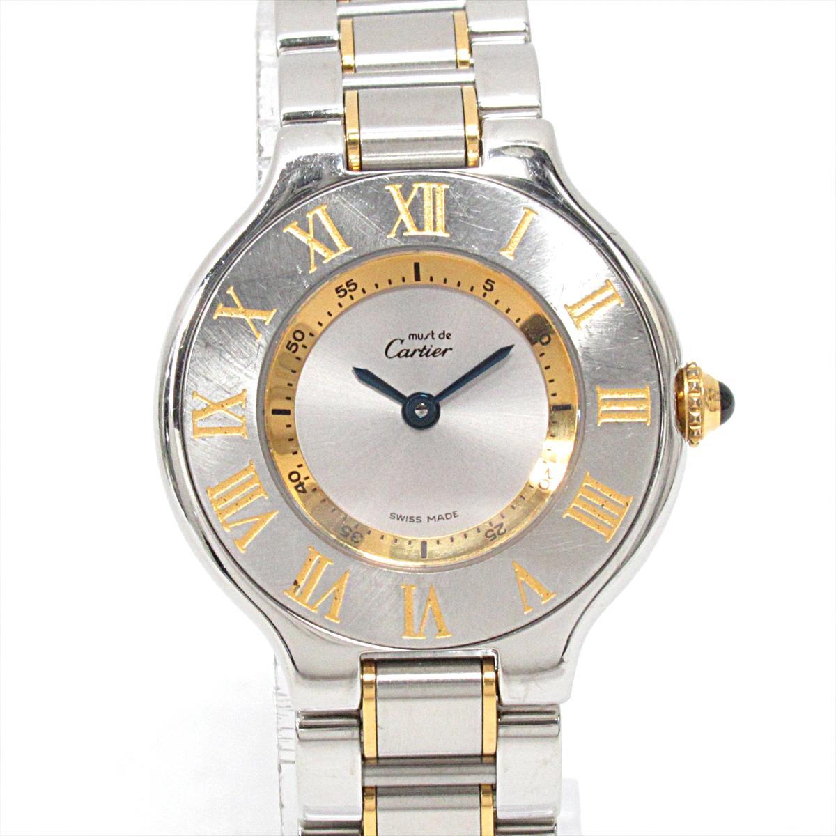【中古】 カルティエ マスト21 腕時計 ウォッチ レディース ステンレススチール (SS) x GP | Cartier BRANDOFF ブランドオフ ブランド ブランド時計 ブランド腕時計 時計