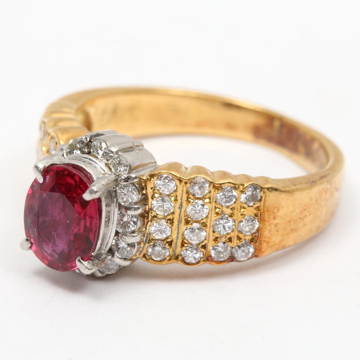 ジュエリー ルビー ダイヤモンド リング 指輪 レディース PT900 プラチナ x K18YG イエローゴールド0 50ct0 85ctJEWELRY BRANDOFF ブランドオフ ブランド アクセサリーkwOP80n