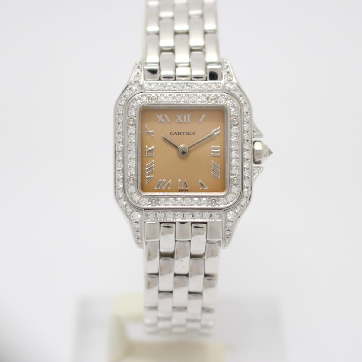 【中古】カルティエ パンテールSM 2重ダイヤモンドベゼル レディースウォッチ 腕時計 レディース K18WG(750)ホワイトゴールド×ダイヤモンド (WF3245F3)