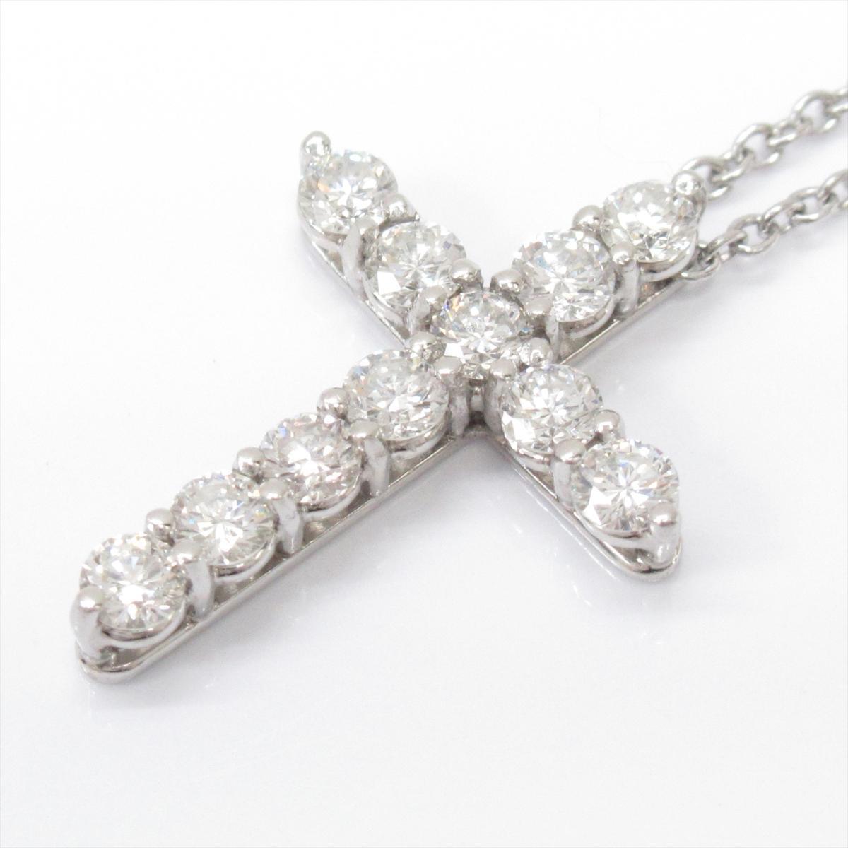 【中古】ティファニー クロス ダイヤモンド ネックレス レディース PT950 プラチナxダイヤモンド(石目なし)