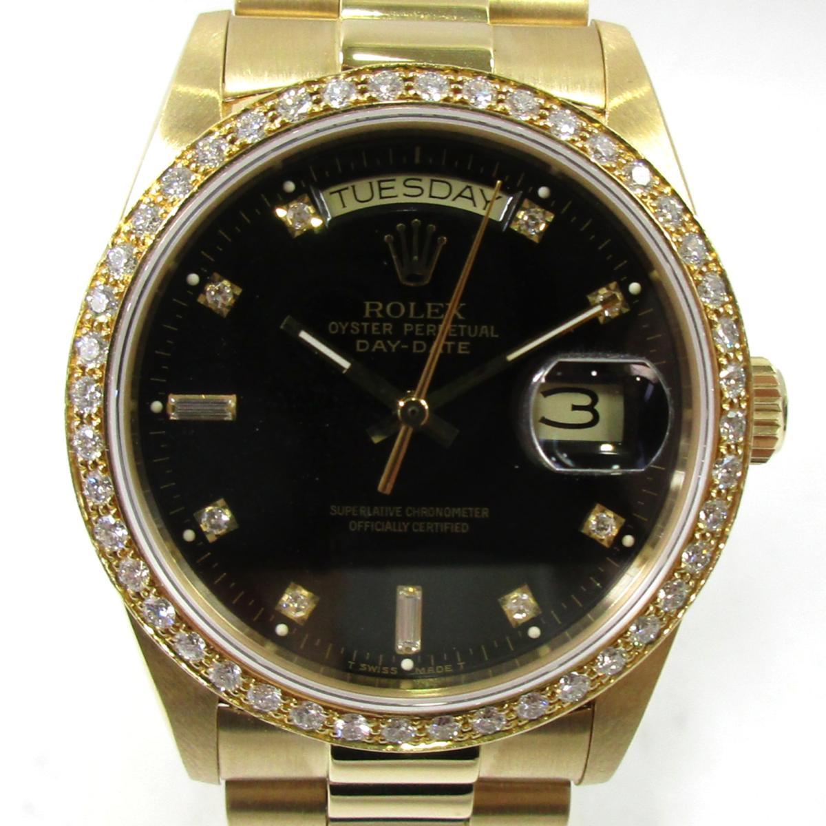 【お買得】 【】 ロレックス デイデイト ベゼルダイヤ/10Pダイヤ 腕時計 ウォッチ メンズ K18YG (750)イエローゴールド x ダイヤモンド ゴールド 18048A) | ROLEX BRANDOFF ブランドオフ ブランド ブランド時計 ブランド腕時計 時計, アワチョウ e27c25cd
