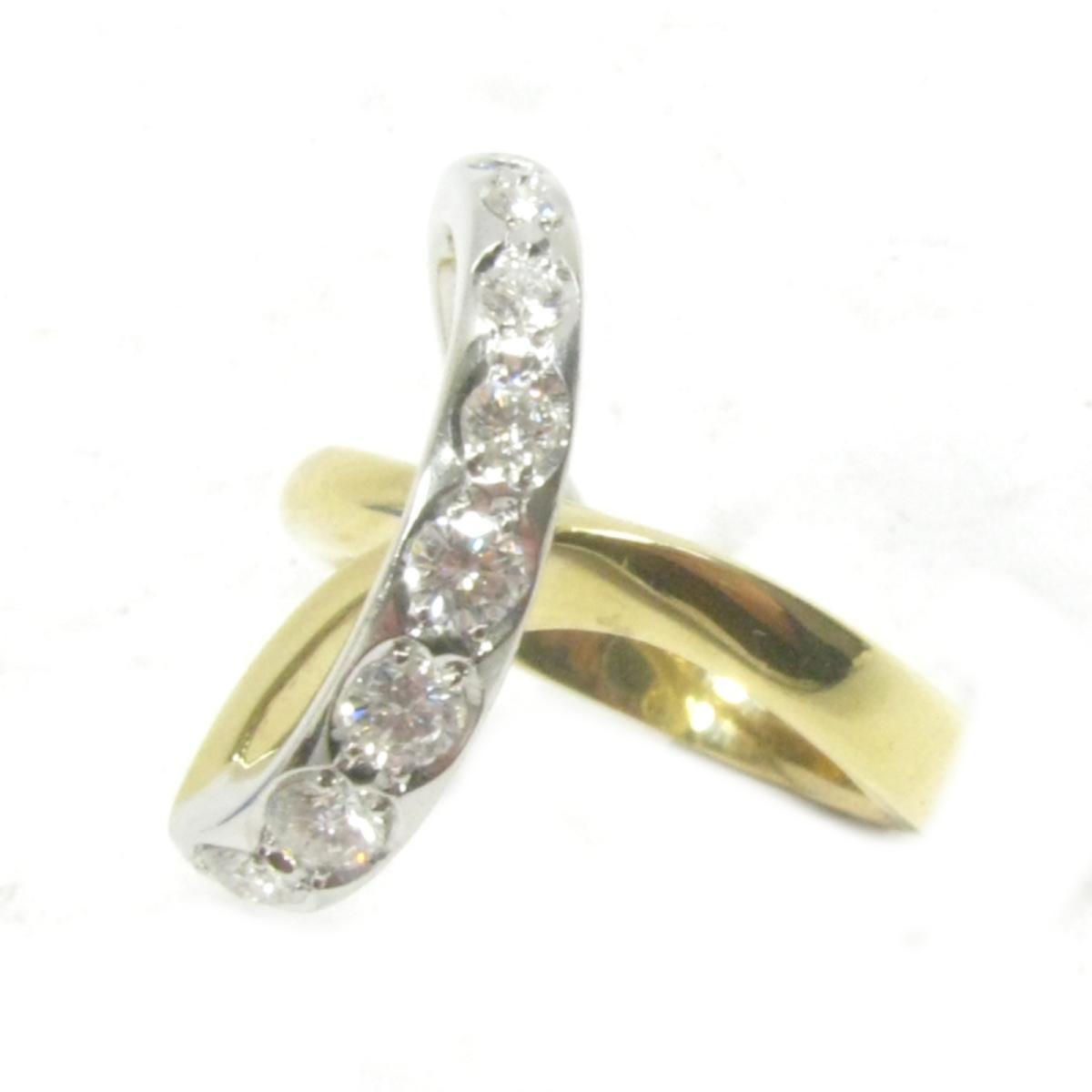 【中古】 ジュエリー ダイヤモンドリング 指輪 レディース K18YG (750) イエローゴールド x PT900 (プラチナ) 石目無し ゴールド シルバー クリアー | JEWELRY BRANDOFF ブランドオフ ブランド アクセサリー リング