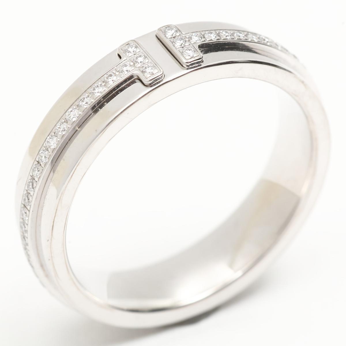 【中古】 ティファニー Tツーナロー ダイヤモンド リング 指輪 レディース K18WG (750) ホワイトゴールド x   TIFFANY&CO BRANDOFF ブランドオフ ブランド ジュエリー アクセサリー