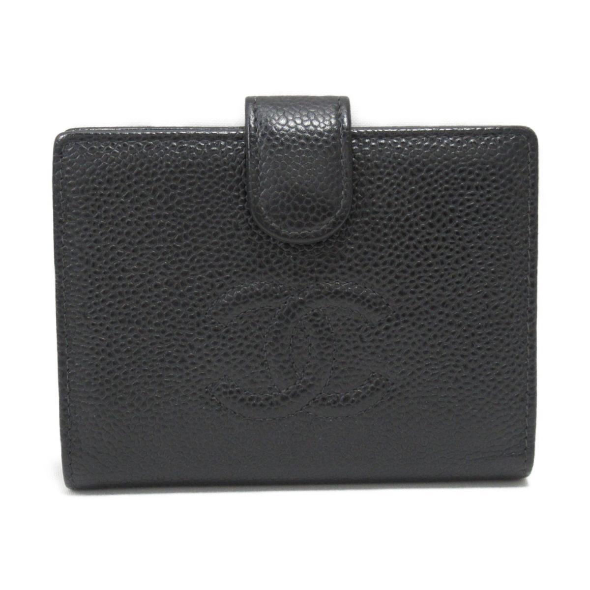 愛用  シャネル 二つ折財布 レディース キャビアスキン ブラック   CHANEL BRANDOFF ブランドオフ ブランド ブランド財布 財布 レディース財布 サイフ ミニ財布, アウトスポット cae7419e