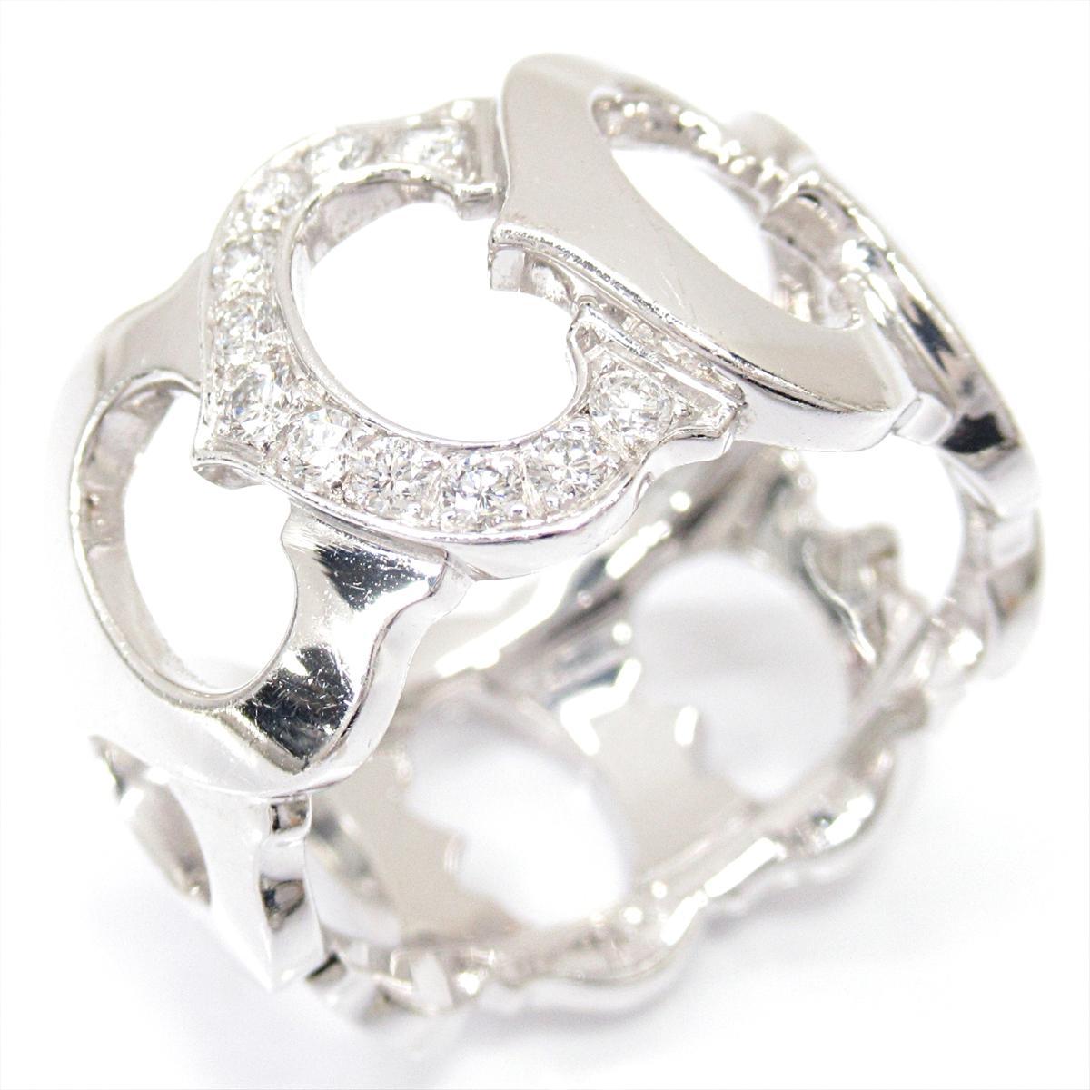 【中古】 カルティエ Cドゥカルティエリング 指輪 メンズ レディース K18WG (750) ホワイトゴールド x ダイヤモンド | Cartier BRANDOFF ブランドオフ ブランド ジュエリー アクセサリー リング