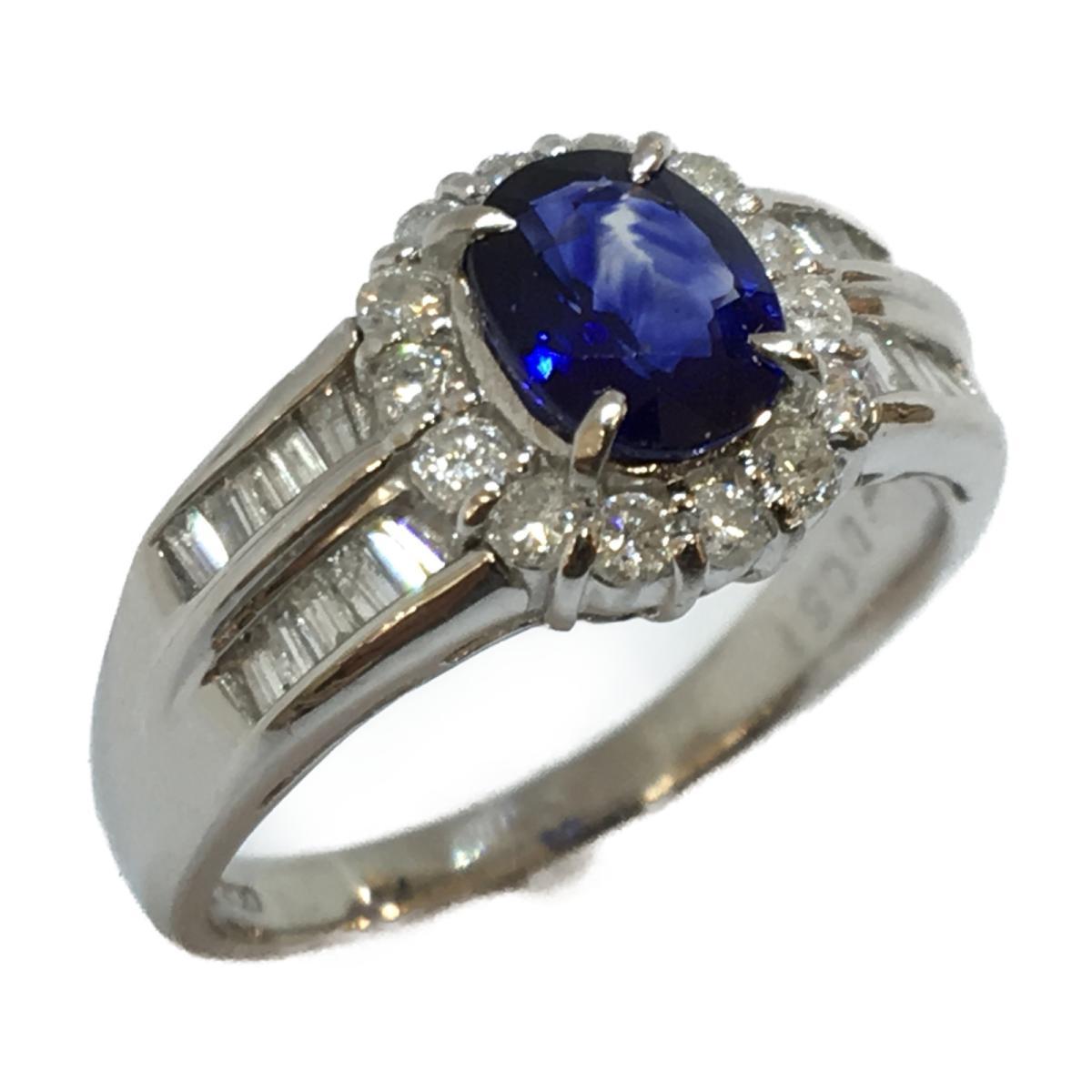 【中古】 ジュエリー サファイア ダイヤモンド リング 指輪 メンズ レディース PT900 プラチナ x (0.89ct) (0.51ct) | JEWELRY BRANDOFF ブランドオフ ブランド アクセサリー