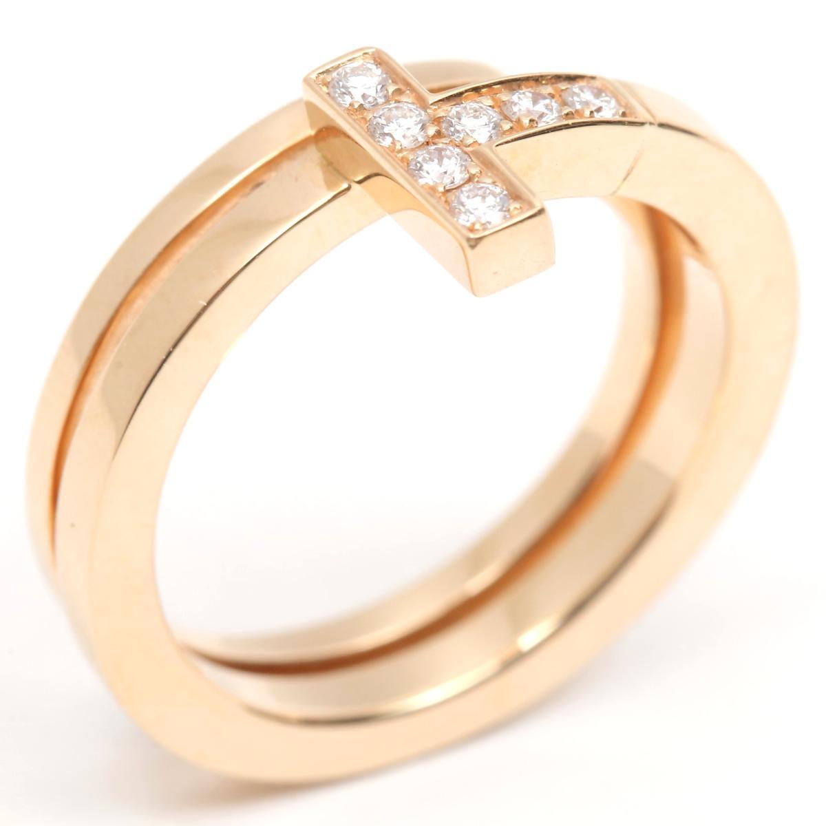 【中古】 ティファニー Tスクエア ラップリング 7Pダイヤモンド 指輪 レディース K18PG (750) ピンクゴールド x ダイヤモンド | TIFFANY&CO BRANDOFF ブランドオフ ブランド ジュエリー アクセサリー リング