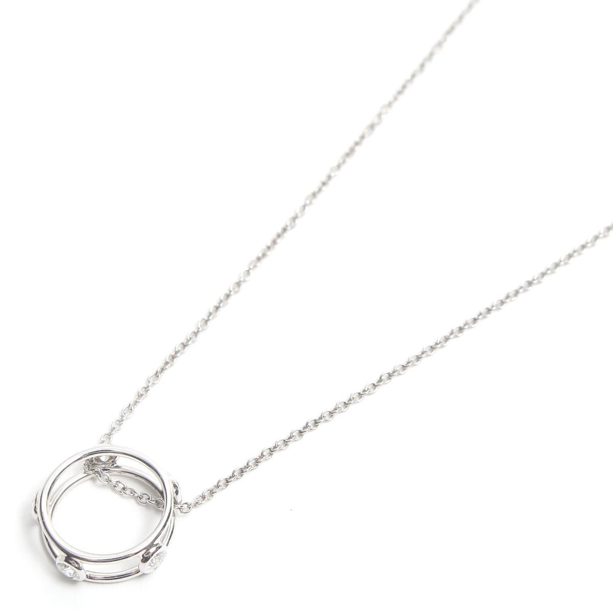 【中古】 ティファニー ダブルワイヤー ネックレス レディース K18WG (750) ホワイトゴールド x ダイヤモンド | TIFFANY&CO BRANDOFF ブランドオフ ブランド アクセサリー ペンダント