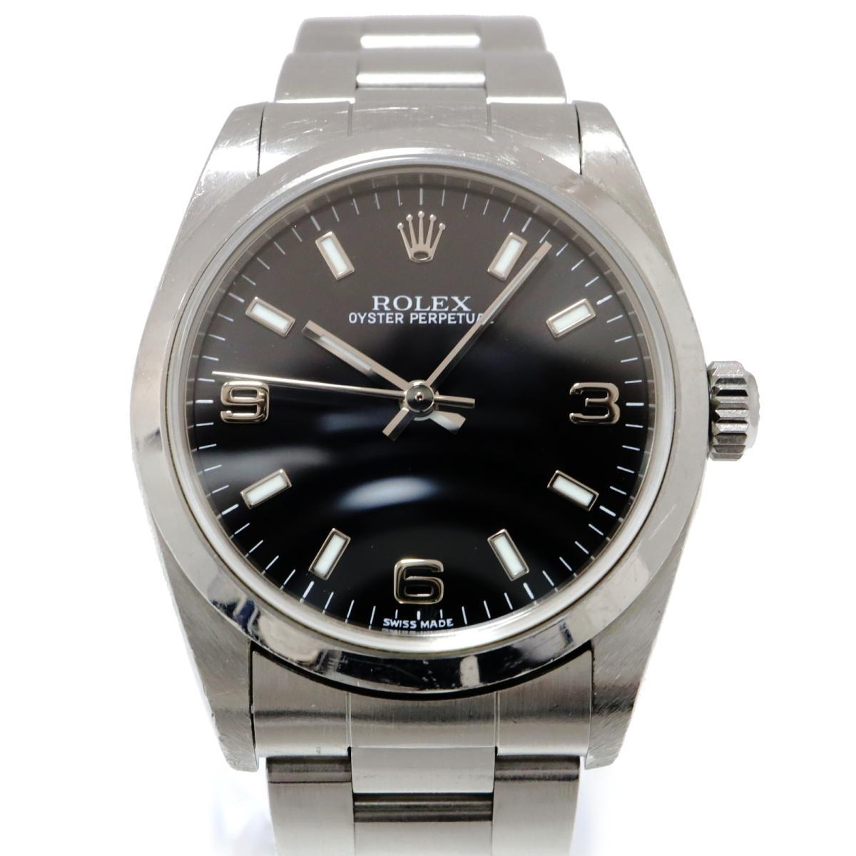 非常に高い品質 【】 ロレックス オイスター パーペチュアル 腕時計 メンズ レディース ステンレススチール (SS) ブラック (77080) | ROLEX BRANDOFF ブランドオフ ブランド ブランド時計 ブランド腕時計 時計 ウォッチ, アツギシ a54169e8