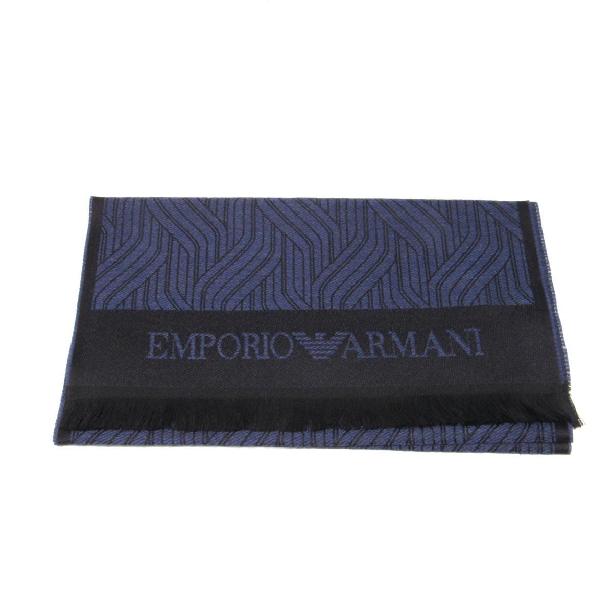 エンポリオアルマーニ マフラー メンズ レディース ウール100% ECIPSE BLUE (9A400)   EMPORIO ARMANI BRANDOFF ブランドオフ ブランド ストール