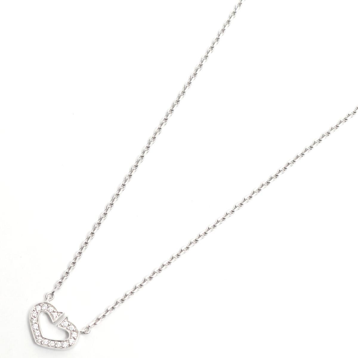 【中古】 カルティエ Cハート ダイヤモンド ネックレス ペンダント レディース K18WG (750) ホワイトゴールド x | Cartier BRANDOFF ブランドオフ ブランド アクセサリー