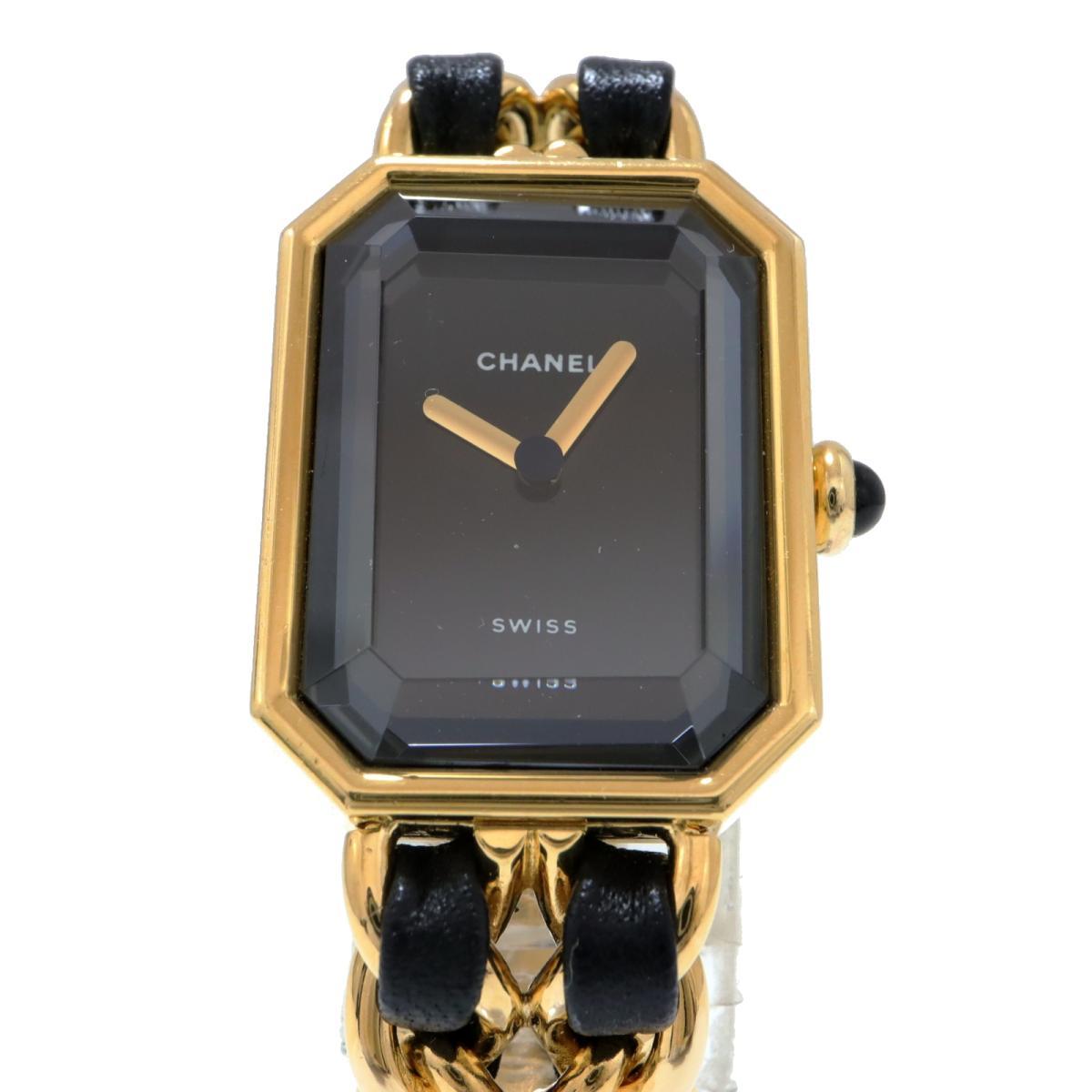 シャネル プルミエールS 腕時計 レディース GP x 革 ブラックH0001CHANEL BRANDOFF ブランドオフ ブランド ブランド時計 ブランド腕時計 時計 ウォッチ4jLARq35