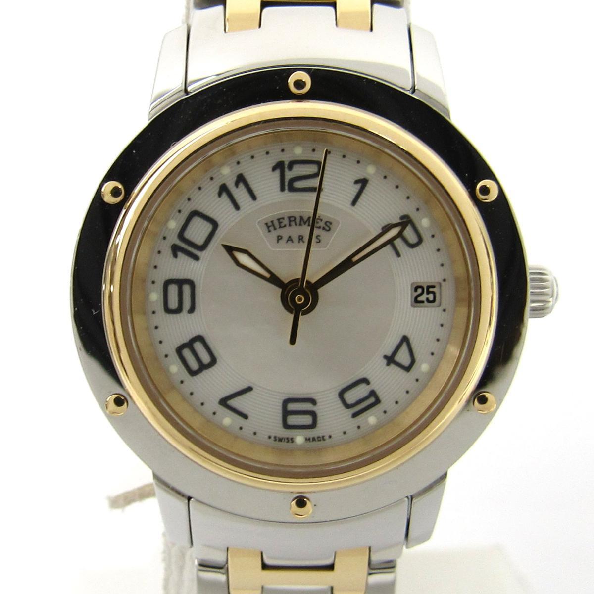 【中古】 エルメス クリッパークラシック ウォッチ 腕時計 レディース GP ステンレススチール (SS) (CP1.220)   HERMES BRANDOFF ブランドオフ ブランド ブランド時計 ブランド腕時計 時計