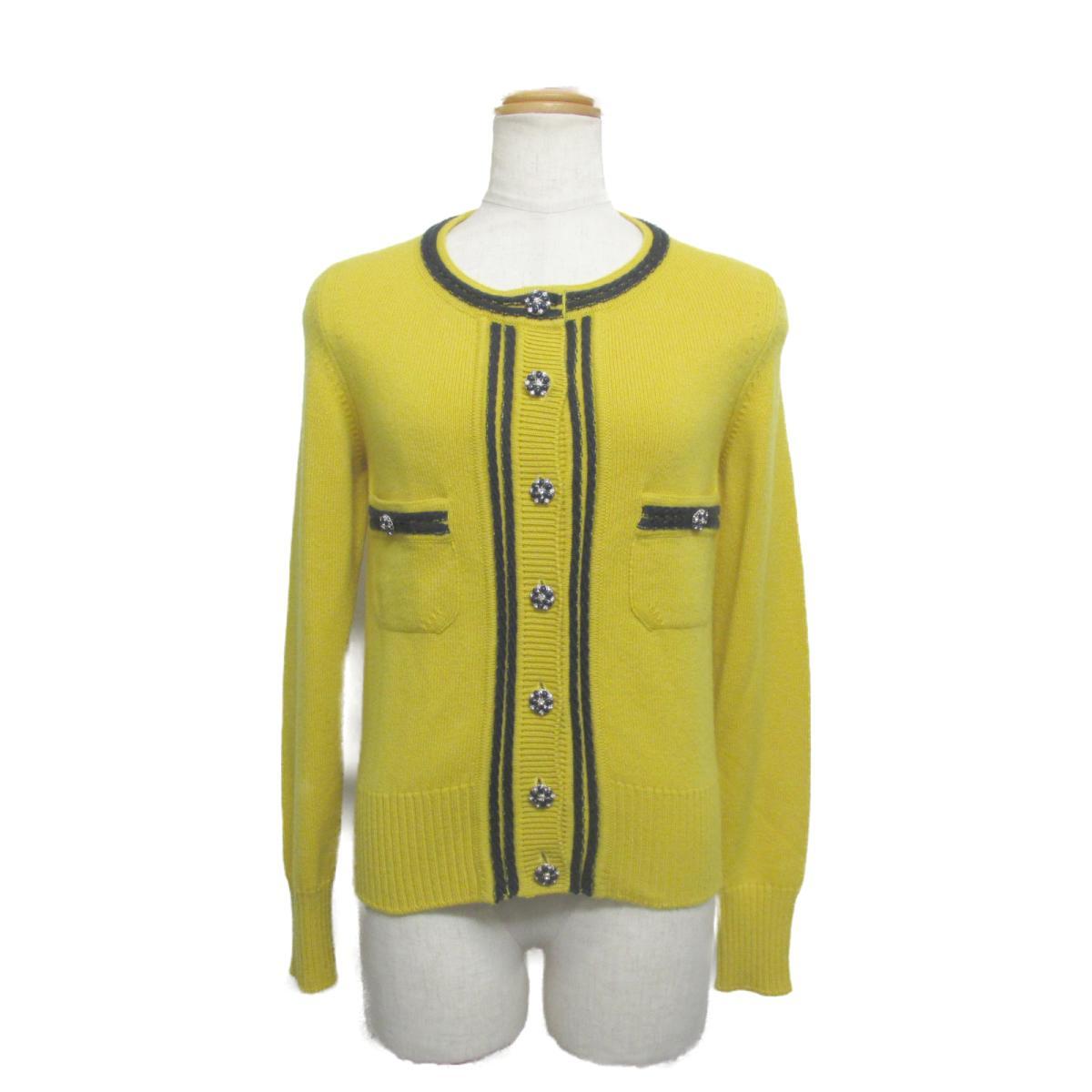 【中古】 シャネル カーディガン レディース 100%カシミア イエロー x チャコールグレー (P432020K04355) | CHANEL BRANDOFF ブランドオフ 衣料品 衣類 ブランド トップス ボレロ
