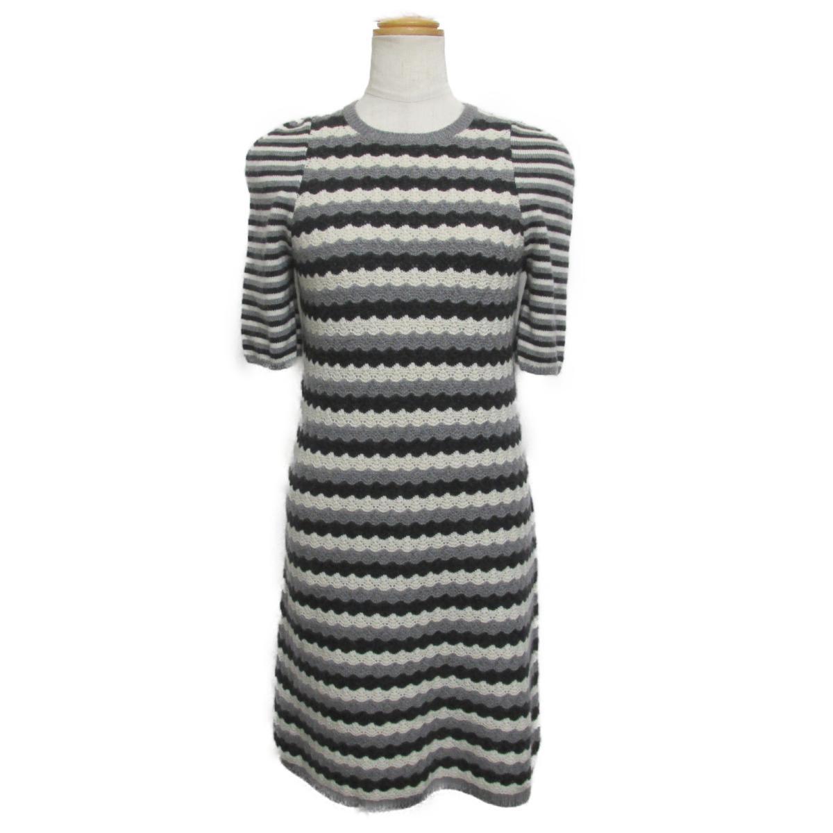 【中古】 シャネル ワンピース レディース 100%カシミア グレー ブラック ホワイト (P57823K07567) | CHANEL BRANDOFF ブランドオフ 衣料品 衣類 ブランド