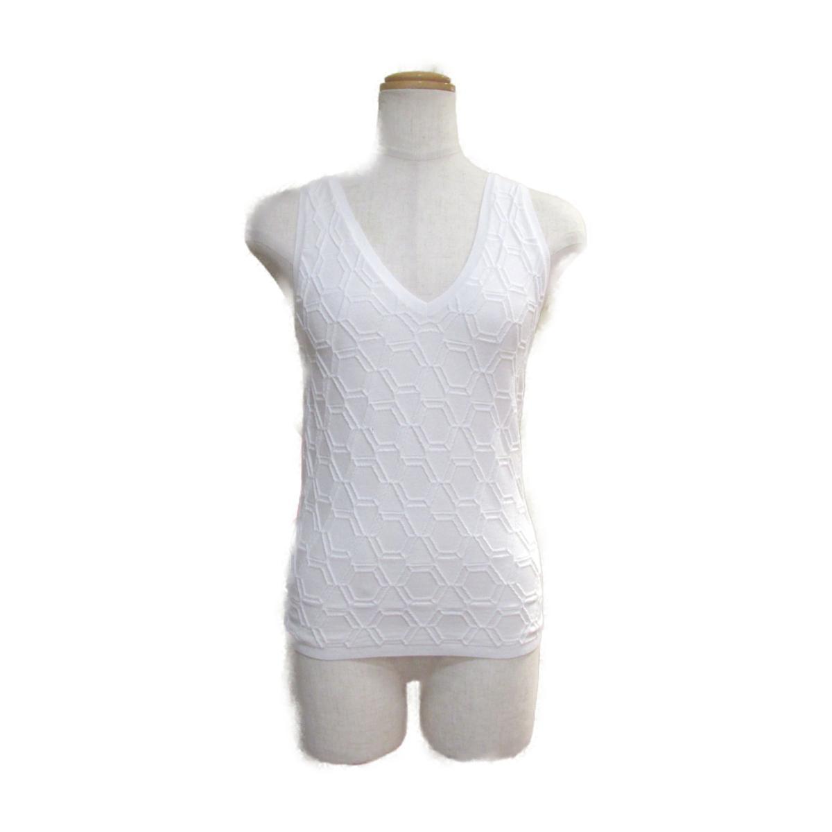 【中古】 シャネル ノースリーブ ニット レディース コットン (73%) ラバー (18%)ナイロン (7%) ホワイト (P53303K06922)   CHANEL BRANDOFF ブランドオフ 衣料品 衣類 ブランド