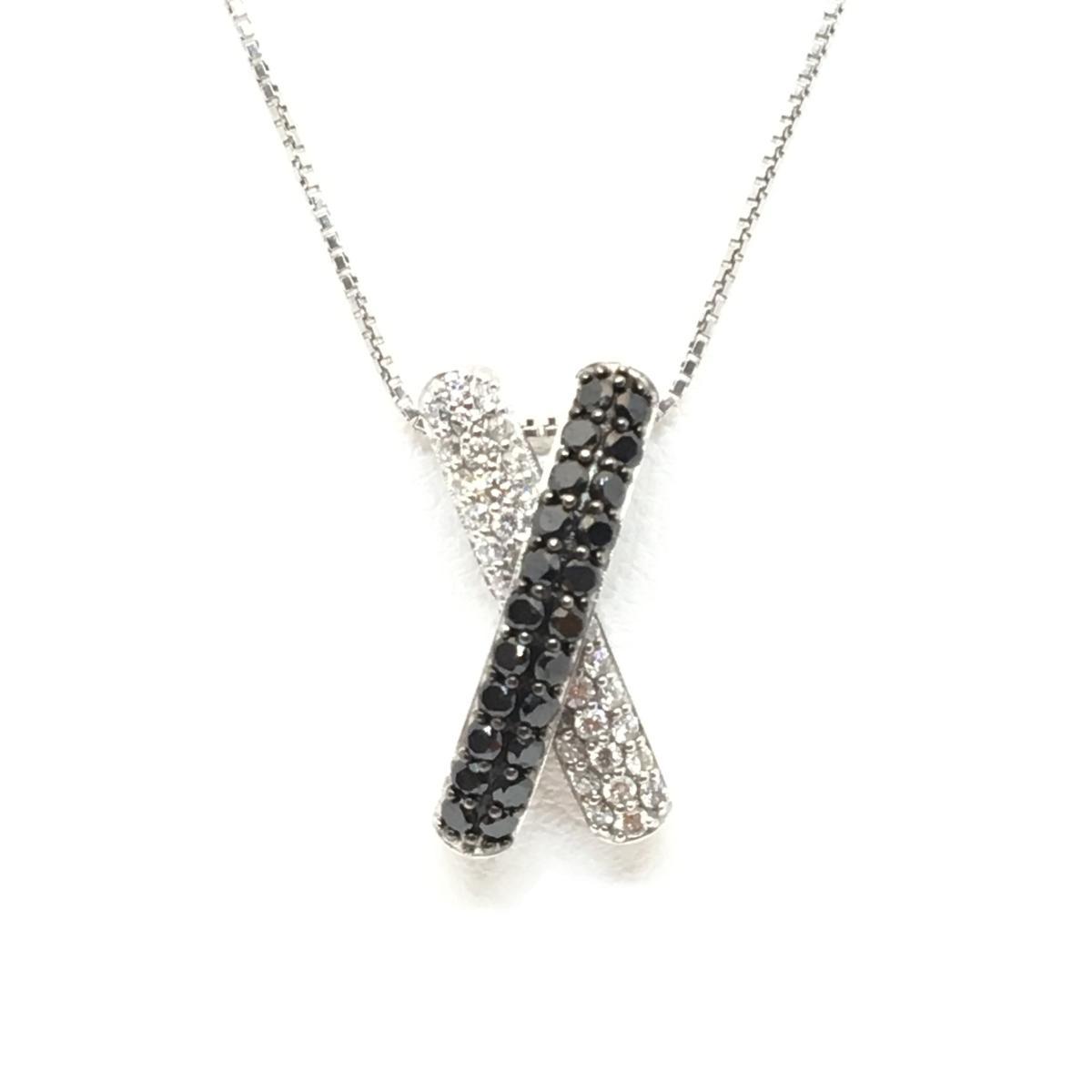 【中古】 ジュエリー K18WG ダイヤモンド ネックレス レディース (750) ホワイトゴールド ブラック x シルバー | JEWELRY BRANDOFF ブランドオフ ブランド アクセサリー ペンダント