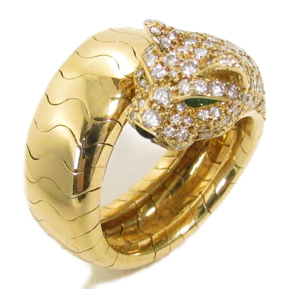【中古】 カルティエ パンテール ラカルダ リング 指輪 レディース K18YG (750) イエローゴールド ダイヤモンド オニキス エメラルド   Cartier BRANDOFF ブランドオフ ブランド ジュエリー