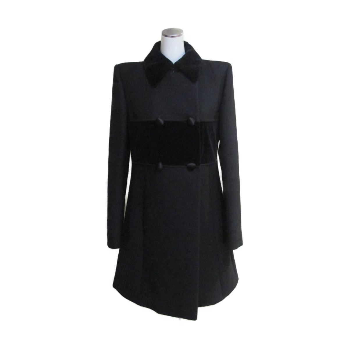 【中古】 サン・ローラン 2016 コート レディース 99%ウール 1%シルク 部分使い:100%コットン ブラック   SAINT LAURENT BRANDOFF ブランドオフ 衣料品 衣類 ブランド アウター ジャケット
