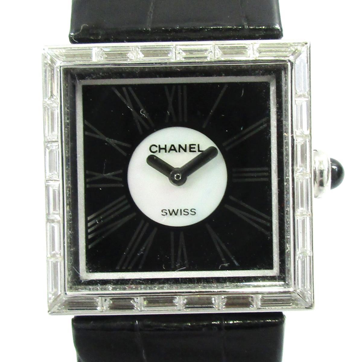 【中古】 シャネル マドモアゼル ダイヤ 時計 ウォッチ レディース K18WG (750)ホワイトゴールド レザー シルバー ブラック (H0106) | CHANEL BRANDOFF ブランドオフ ブランド ブランド時計 ブランド腕時計 腕時計