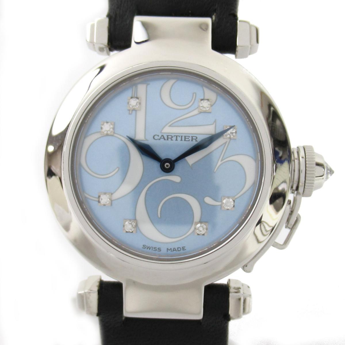 【中古】 カルティエ パシャ 8Pダイヤ ウォッチ 腕時計 レディース K18WG (750)ホワイトゴールド レザーベルト (WJ123121) | Cartier BRANDOFF ブランドオフ ブランド ブランド時計 ブランド腕時計 時計