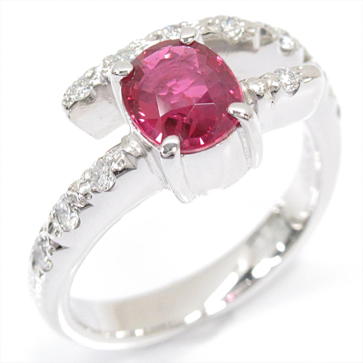 【中古】 ジュエリー 非加熱ルビーリング 指輪 レディース PT900 プラチナ x 非加熱ルビー (1.13ct) ダイヤモンド (0.24ct) | JEWELRY BRANDOFF ブランドオフ ブランド アクセサリー リング