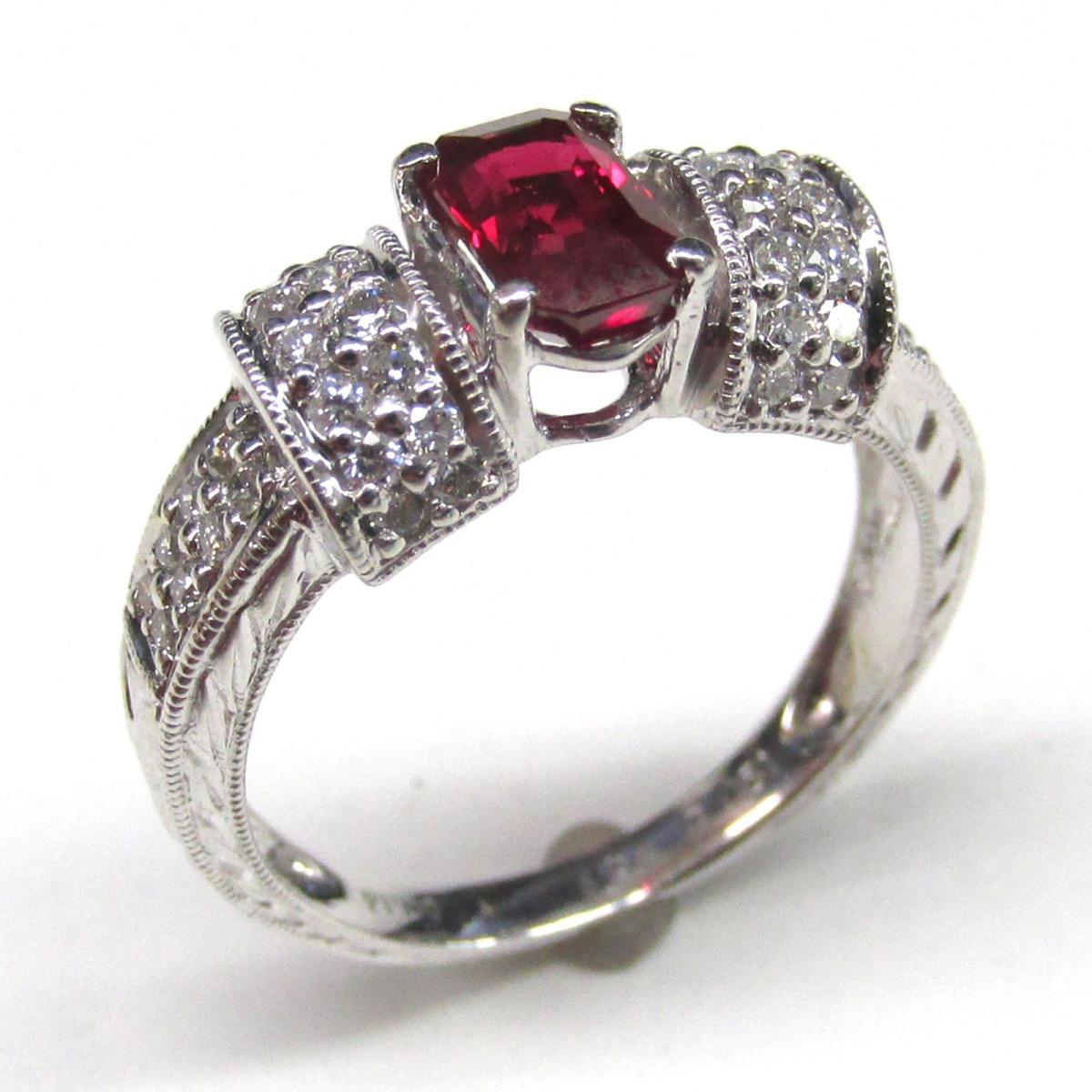 【中古】 ジュエリー ルビー ダイヤモンド リング 指輪 レディース PT900 プラチナ x (1.08ct) (0.51ct) | JEWELRY BRANDOFF ブランドオフ ブランド アクセサリー