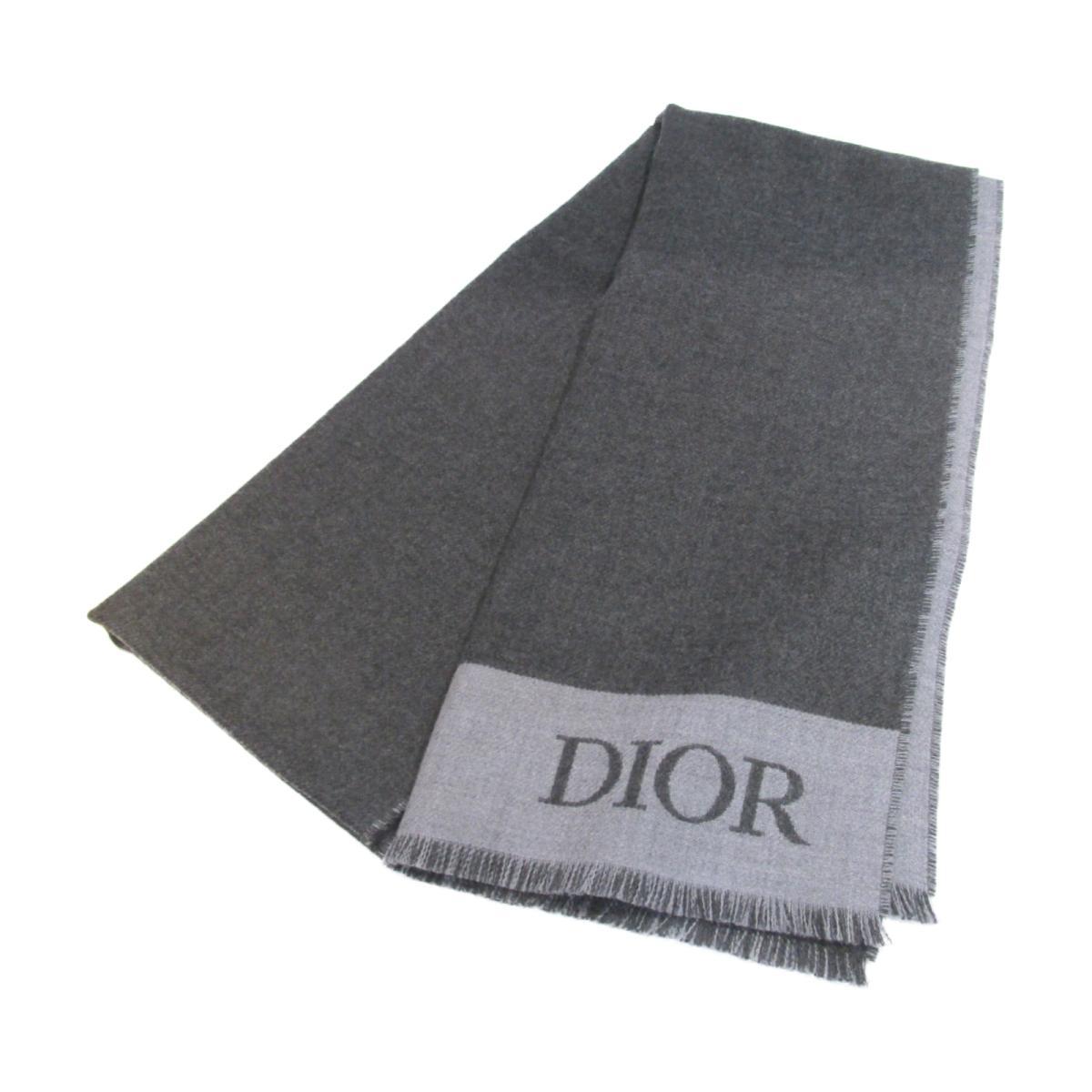 【中古】 クリスチャン・ディオール マフラー メンズ レディース ウール チャコールグレー グレー | Dior BRANDOFF ブランドオフ ブランド スカーフ