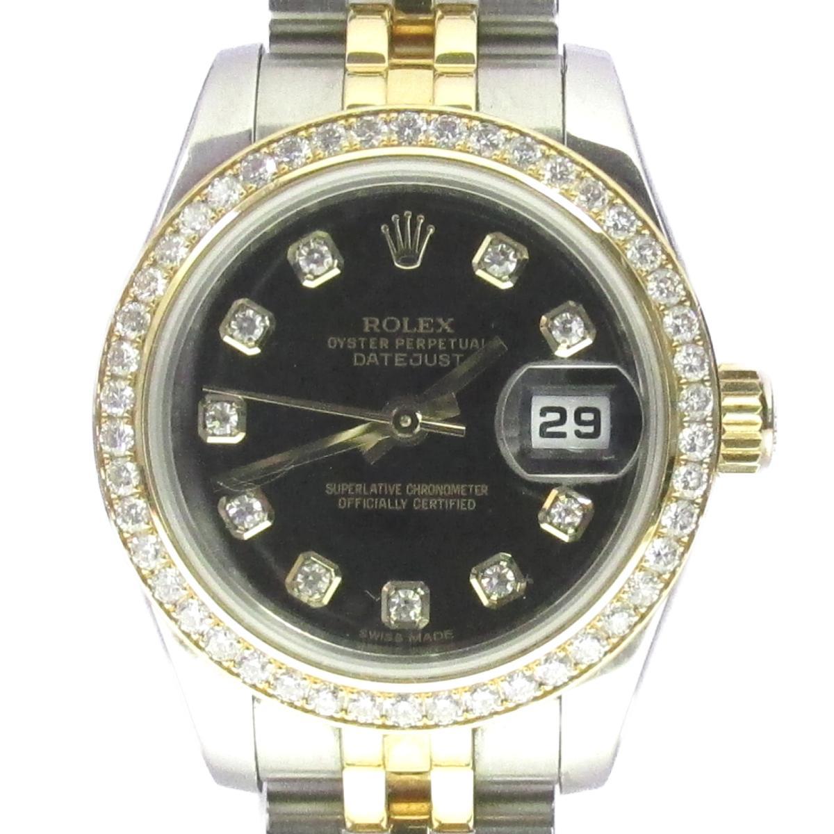 【中古】 ロレックス デイトジャスト・ダイヤモンドベゼル 腕時計 ステンレススチール (SS) K18YG (750)イエローゴールド ブラック (179383) | ROLEX BRANDOFF ブランドオフ ブランド ブランド時計 ブランド腕時計 時計