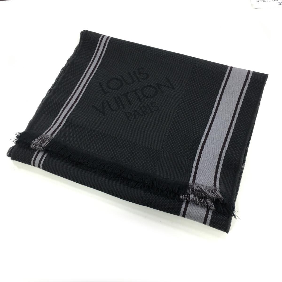 【中古】 ルイヴィトン マフラー メンズ ウール100% ブラック グレー | LOUIS VUITTON BRANDOFF ブランドオフ ヴィトン ビトン ルイ・ヴィトン ブランド スカーフ
