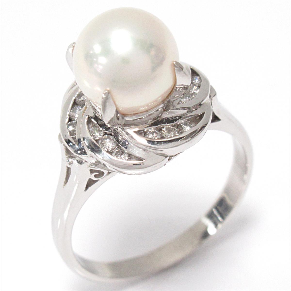 【中古】 ジュエリー パールリング 指輪 レディース PT900 プラチナ x パール ダイヤモンド (0.20ct)   JEWELRY BRANDOFF ブランドオフ ブランド アクセサリー リング