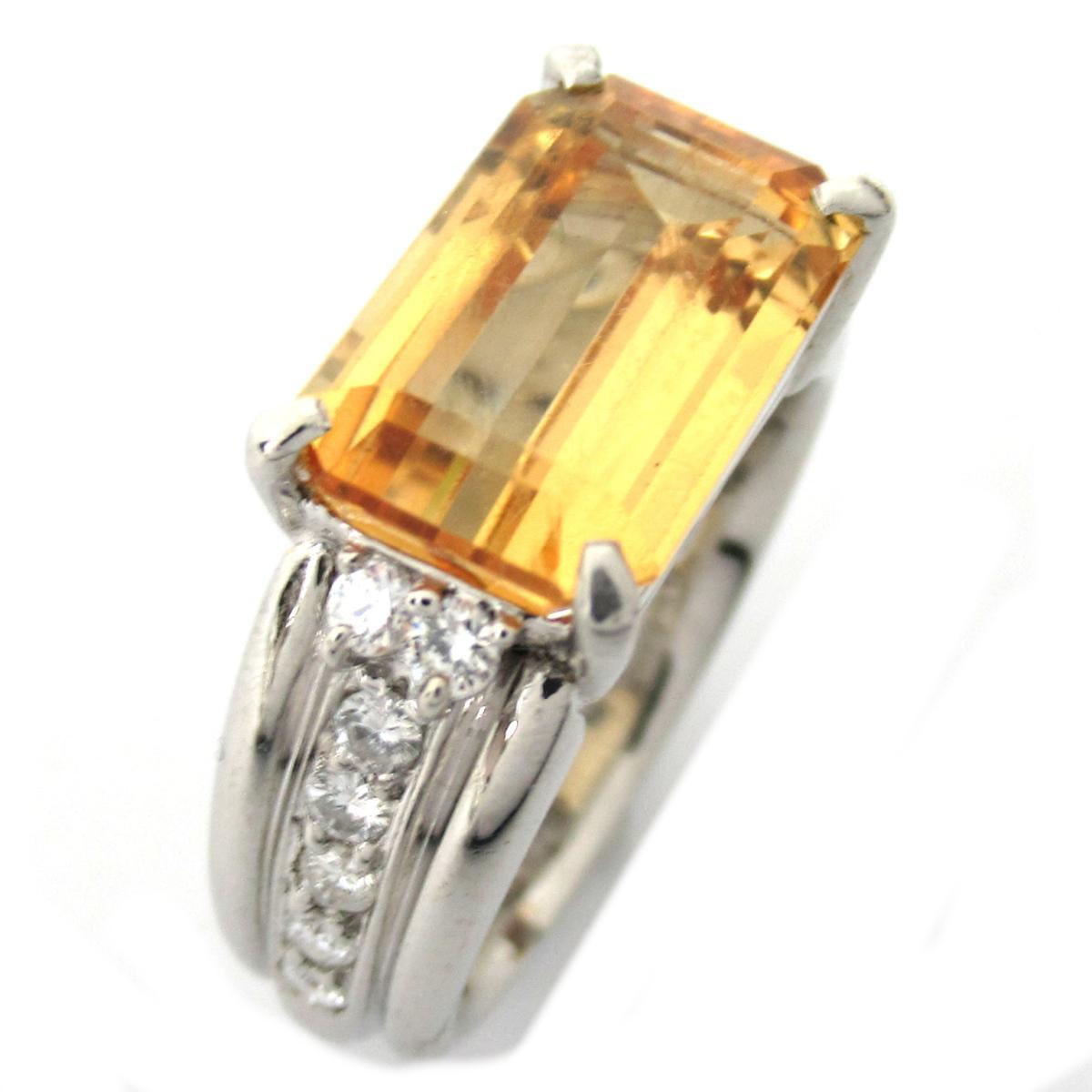 【中古】 ジュエリー インペリアルトパーズ ダイヤモンド リング 指輪 レディース PT900 プラチナ x トパーズ4.38ct ダイヤモンド0.282ct | JEWELRY BRANDOFF ブランドオフ ブランド アクセサリー