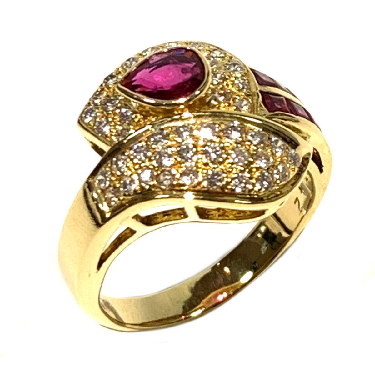 ジュエリー ダイヤモンド ルビー リング 指輪 レディース 18K x ダイヤモンド0.42 ルビー0.60ct クリアー レッド ゴールド | JEWELRY BRANDOFF ブランドオフ ブランド アクセサリー:Brandoff銀座