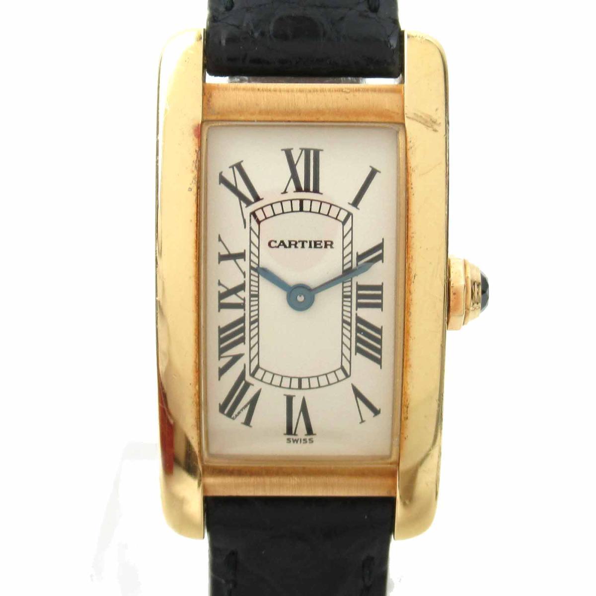 ≪期間限定≫メルマガ登録でクーポンGET! 【中古】 カルティエ タンクアメリカン ウォッチ 腕時計 レディース K18YG (750)イエローゴールド レザーベルト (W2601556) | Cartier BRANDOFF ブランドオフ ブランド ブランド時計 ブランド腕時計 時計