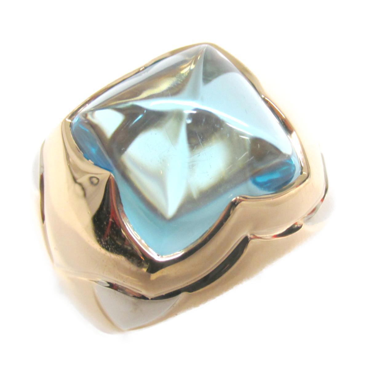 【中古】 ブルガリ ピラミデリング 指輪 メンズ レディース K18YG (750) イエローゴールド x ブルートパーズ | BVLGARI BRANDOFF ブランドオフ ブランド ジュエリー アクセサリー リング