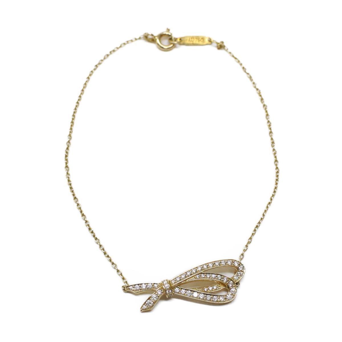 【中古】 ティファニー ボウ ダイヤブレスレット レディース K18PG (750) ピンクゴールド x ダイヤモンド ゴールド クリア   TIFFANY&CO BRANDOFF ブランドオフ ブランド アクセサリー ブレスレット 腕輪