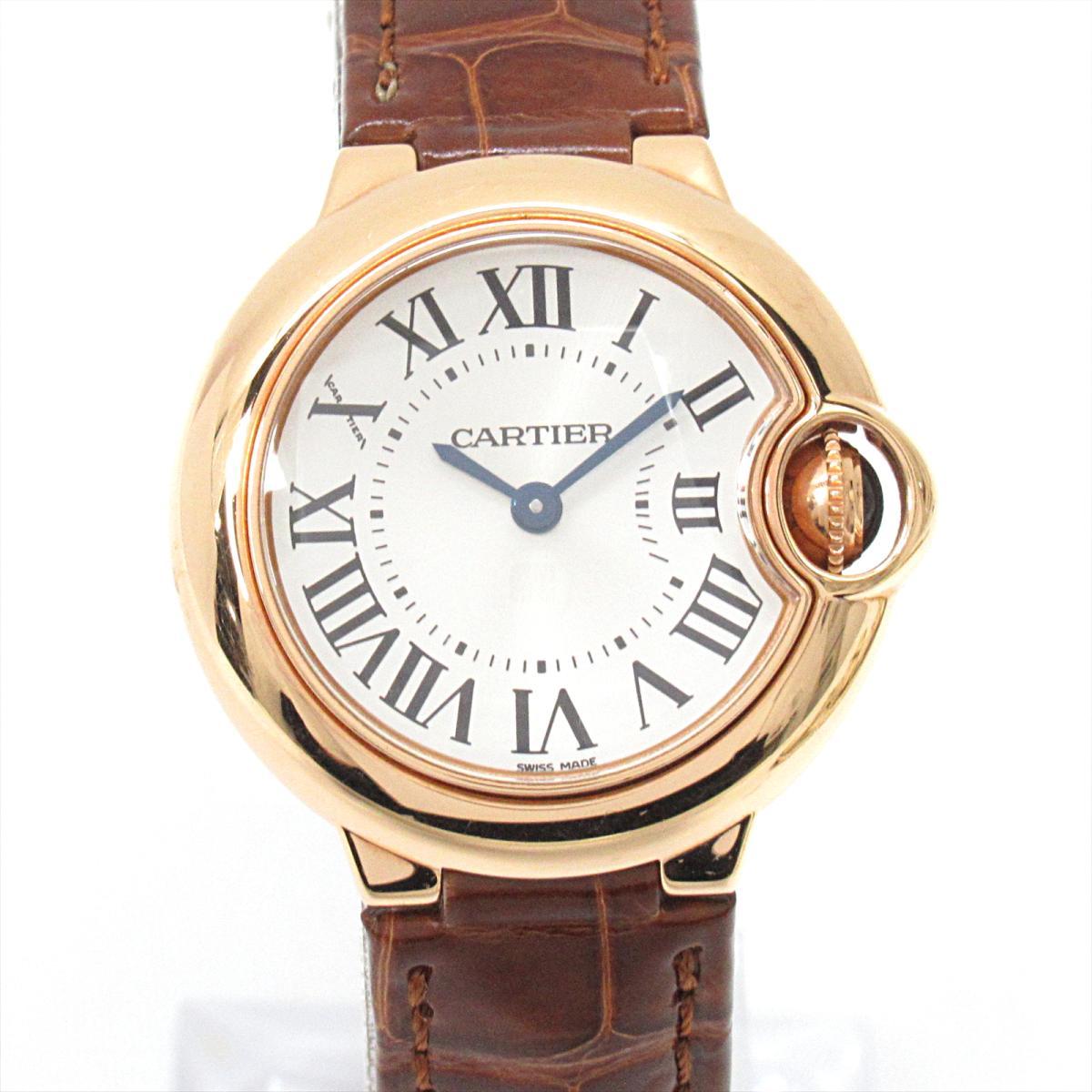 【中古】 カルティエ バロン ブルー ドゥ 腕時計 ウォッチ レディース 18K (ピンクゴールド) レザーベルト (アリゲーター) (WGBB0007) | Cartier BRANDOFF ブランドオフ ブランド ブランド時計 ブランド腕時計 時計