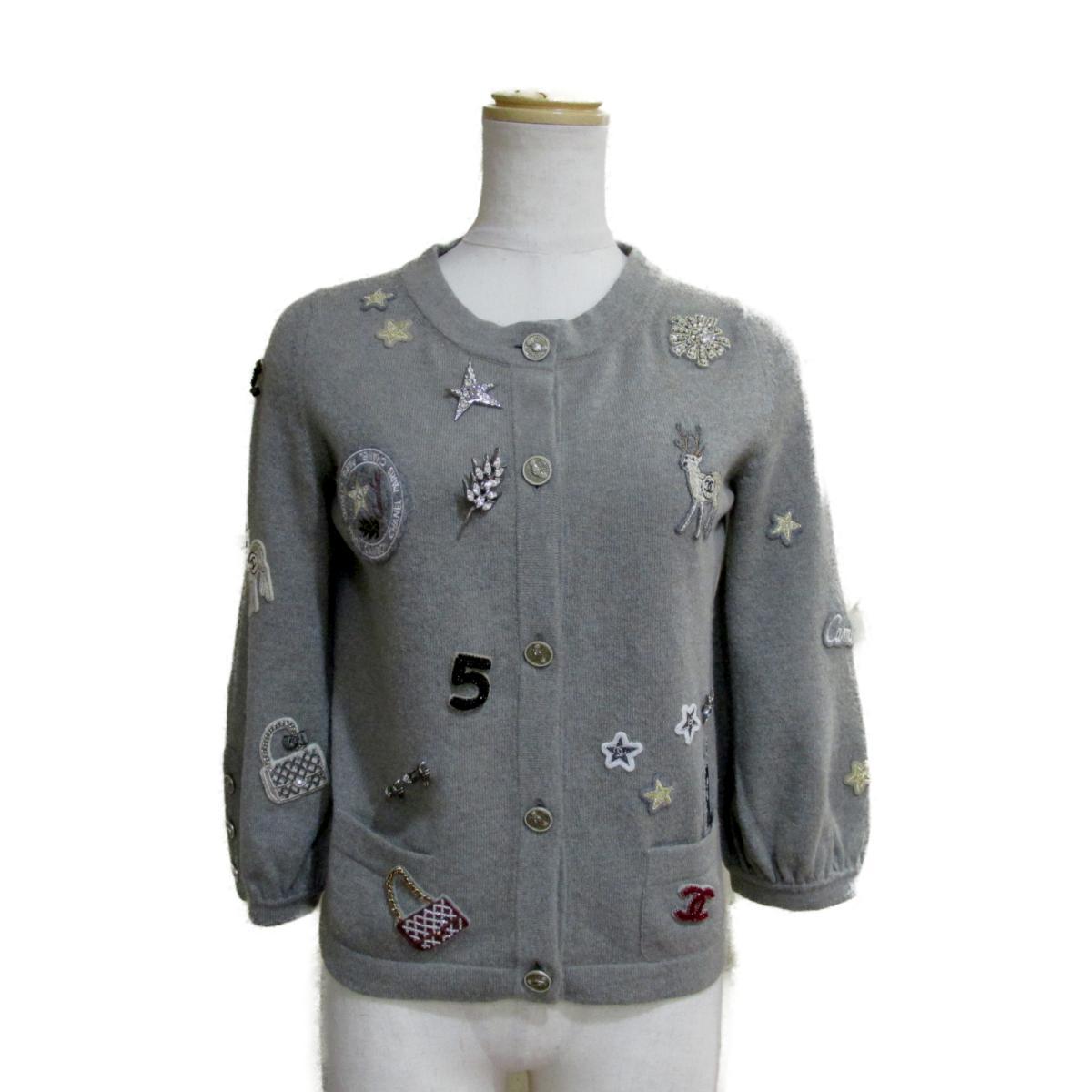 【中古】 シャネル 08P カーディガン レディース カシミア グレー (P32770K00785) | CHANEL BRANDOFF ブランドオフ 衣料品 衣類 ブランド トップス ボレロ