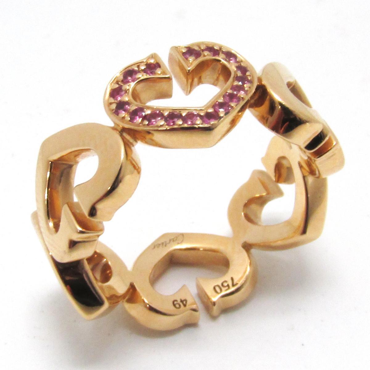 【中古】 カルティエ Cハート ピンクサファイア リング 指輪 レディース K18PG (750) ピンクゴールド x | Cartier BRANDOFF ブランドオフ ブランド ジュエリー アクセサリー