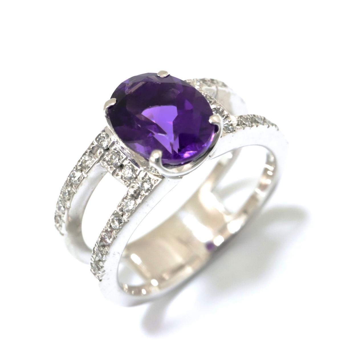 【中古】 ジュエリー アメジスト リング 指輪 レディース K18WG (750) ホワイトゴールド x (1.72ct) ダイヤモンド (0.25ct) パープル クリアー シルバー | JEWELRY BRANDOFF ブランドオフ ブランド アクセサリー