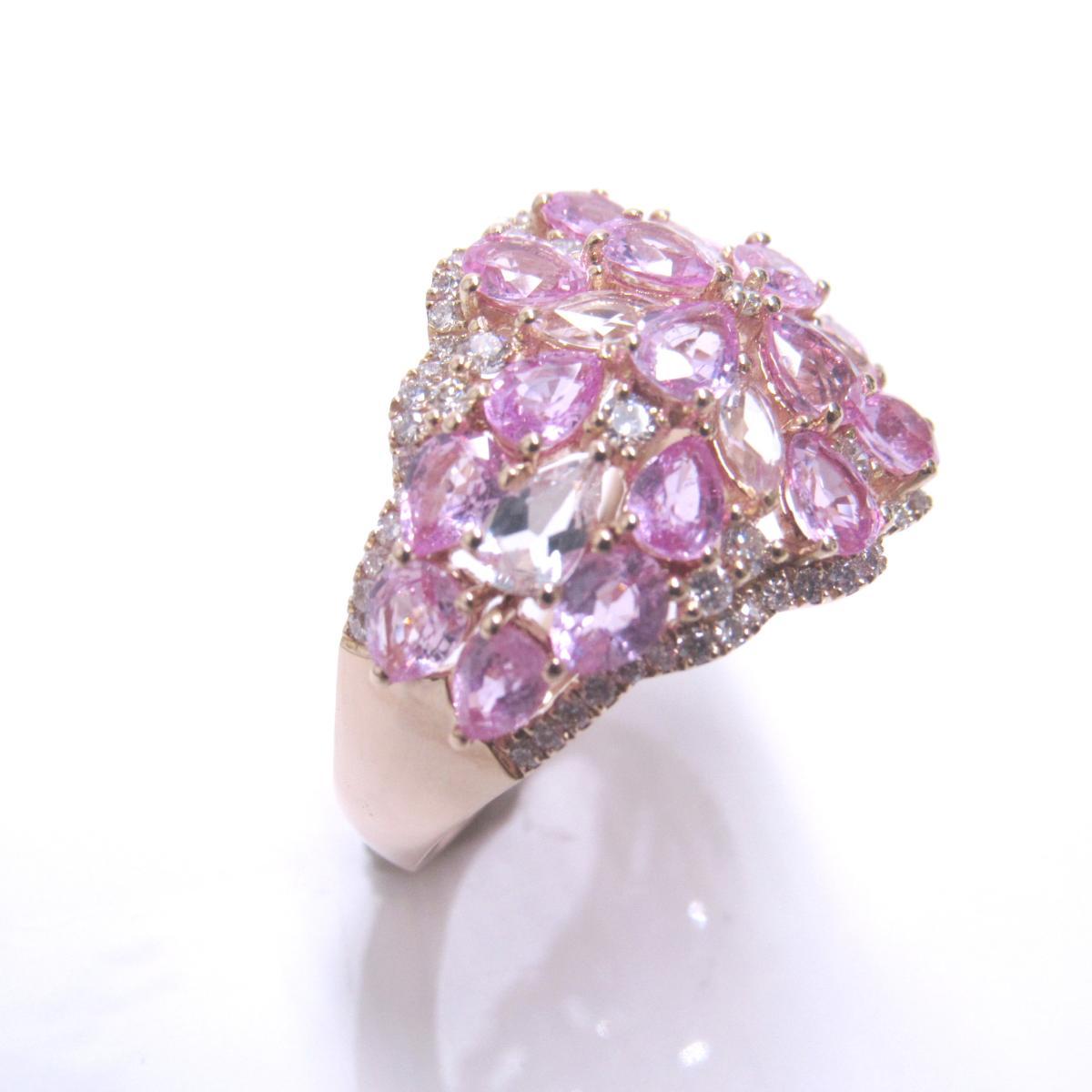 【中古】 ジュエリー リング 指輪 レディース K18PG (750) ピンクゴールド x ピンクサファイア (4.69ct) ダイヤモンド (0.76ct) ピンク | JEWELRY BRANDOFF ブランドオフ ブランド アクセサリー
