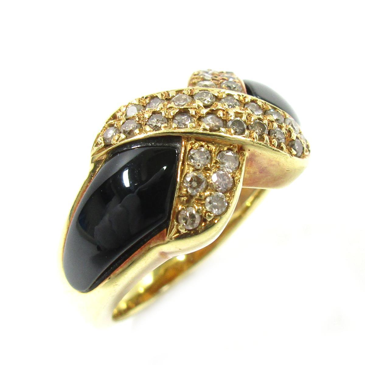 【中古】 ジュエリー ダイヤモンドリング レディース K18YG (750) イエローゴールド x ダイヤモンド0.30ct ゴールド ブラック クリアー   JEWELRY BRANDOFF ブランドオフ ブランド ジュエリー アクセサリー 指輪 リング