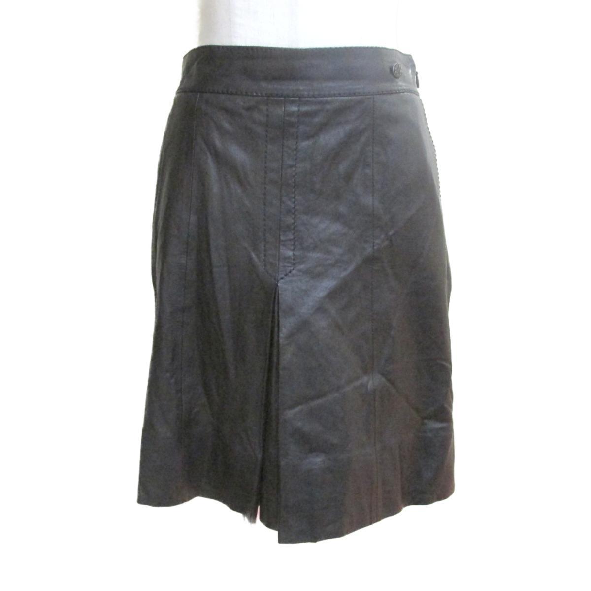 【中古】シャネル スカート レディース ラムスキン100% ブラック (P45579C00202) | CHANEL BRANDOFF ブランドオフ 衣料品 衣類 ブランド ボトムス