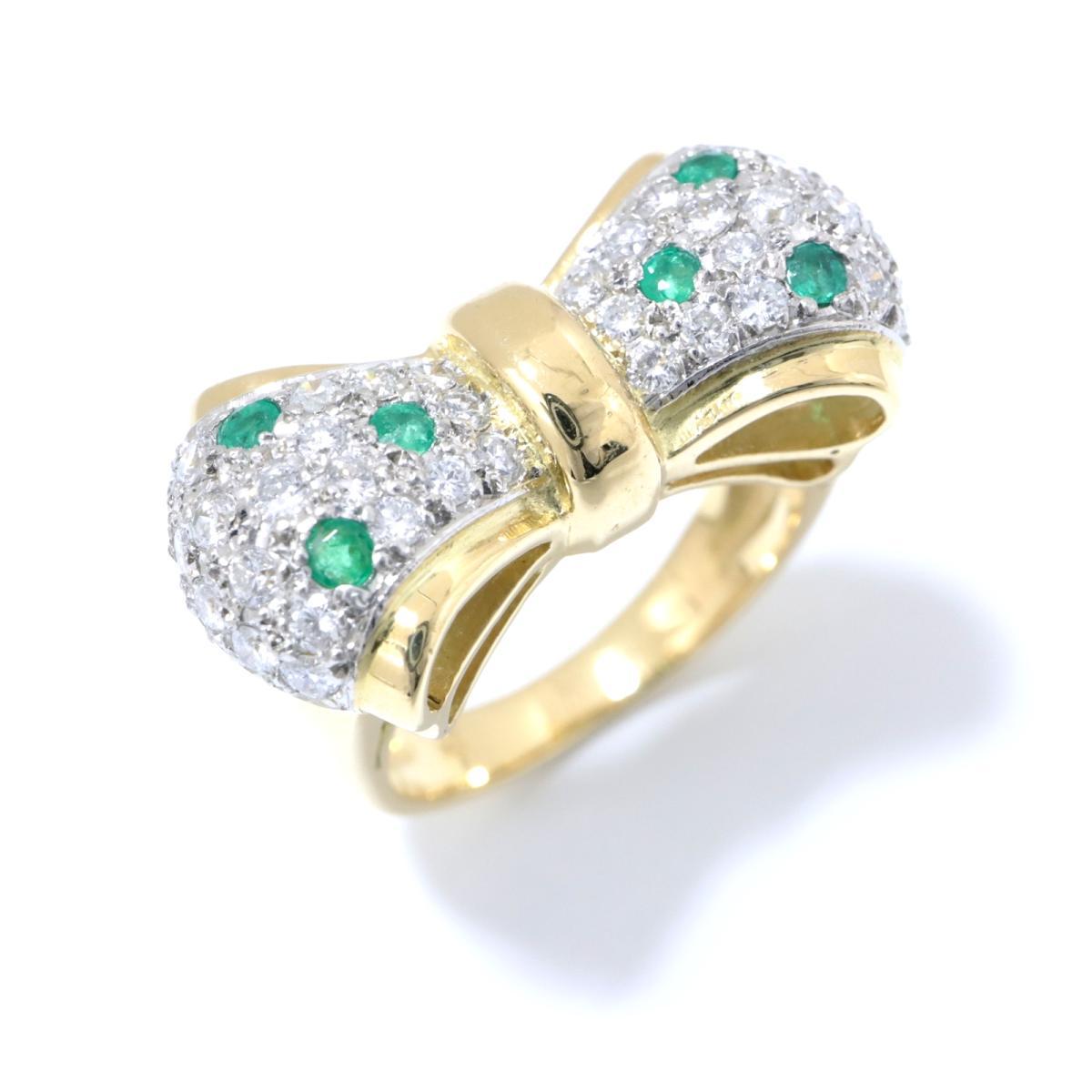 【中古】 ジュエリー エメラルド リング 指輪 レディース K18YG (750) イエローゴールド x (0.17ct) ダイヤモンド (0.56ct) グリーン クリアー ゴールド | JEWELRY BRANDOFF ブランドオフ ブランド ジュエリー アクセサリー