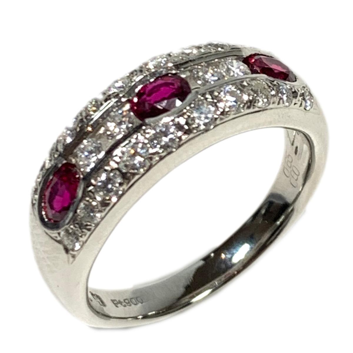 【中古】ジュエリー ルビー リング 指輪 レディース PT900 プラチナ x 0.65ct ダイヤモンド 0.60ct シルバー | JEWELRY BRANDOFF ブランドオフ ブランド ジュエリー アクセサリー