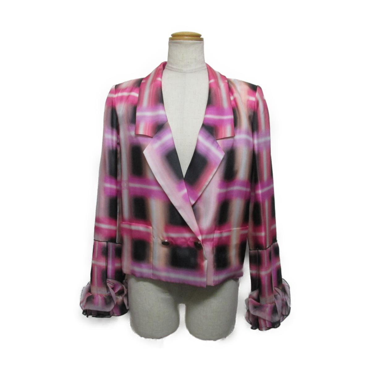 【中古】 シャネル シルク ジャケット レディース シルク100% ピンク x ホワイト ブラック (P56529V42503) | CHANEL BRANDOFF ブランドオフ 衣料品 衣類 ブランド アウター コート