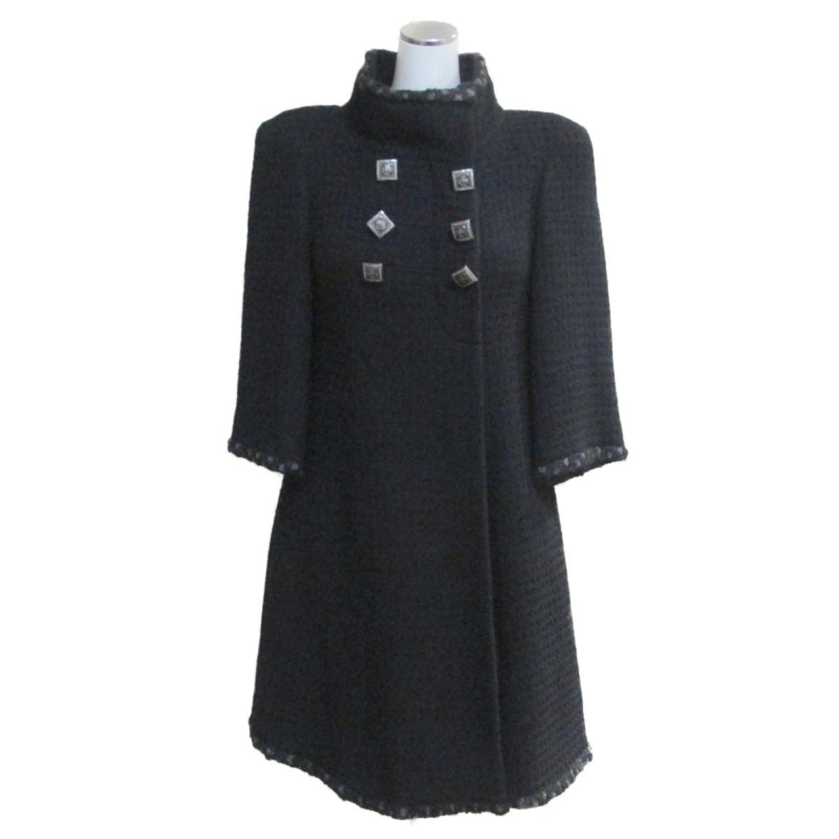 【中古】 シャネル ロングコート レディース ウール100% ブラック (P41578V28654) | CHANEL BRANDOFF ブランドオフ 衣料品 衣類 ブランド アウター ジャケット コート