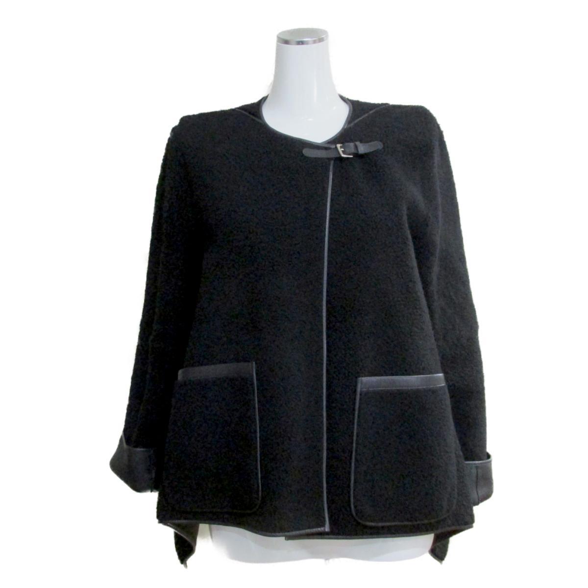 【中古】 エルメス レザー ジャケット レディース 羊革 (ラム)100% ブラック | HERMES BRANDOFF ブランドオフ 衣料品 衣類 ブランド アウター コート