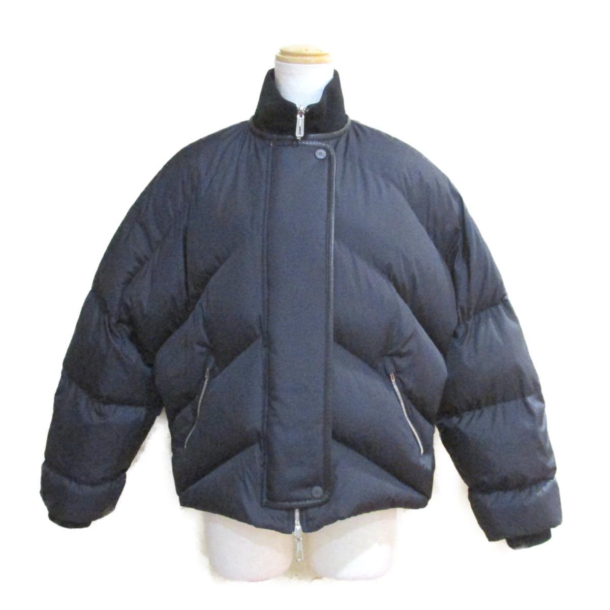 【中古】 エルメス キルティング・ショートジャケット コート レディース ポリエステル ダウン フェザー ネイビー ホワイト イエロー グレー ブラック (H990125) | HERMES BRANDOFF ブランドオフ 衣類 ブランド アウター ジャケット