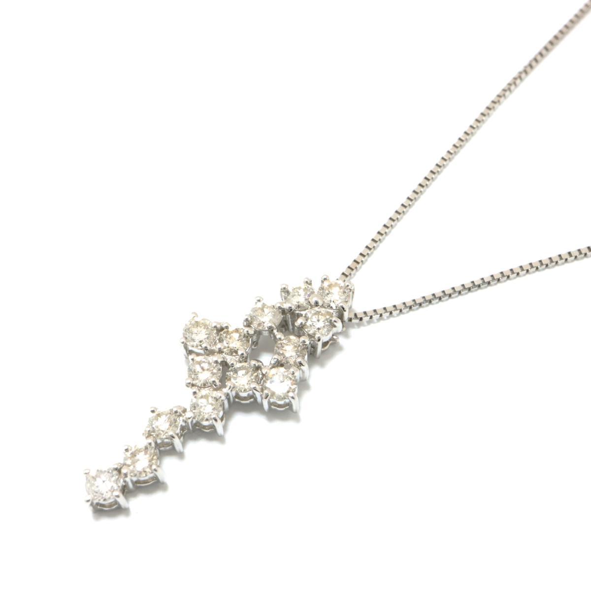 【中古】 ジュエリー ダイヤモンド ネックレス レディース K18WG (750) ホワイトゴールド x (1.00ct) クリアー シルバー | JEWELRY BRANDOFF ブランドオフ ブランド アクセサリー ペンダント